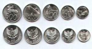 Монеты на бали, деньги, индонезийские рупии