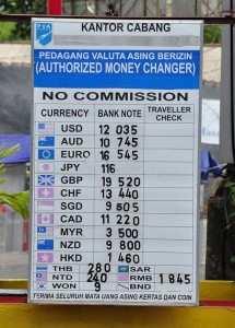 Курсы валют (Доллар, Евро, Йена, Фунт и др.) на Бали в обменных пунктах