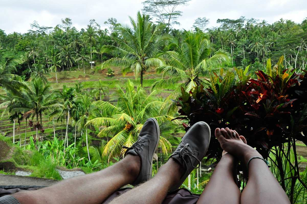 Вид на рисовые террасы Бали