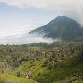 Вид с вулкана на подножье и остров Бали