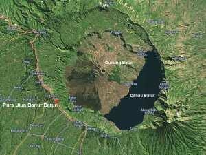 Вулкан Батур на карте. Бали 2016
