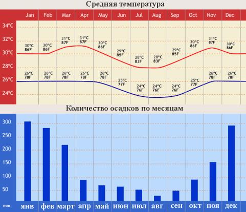 Средняя температура на бали, количество осадков