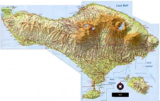 Рельефная карта острова Бали